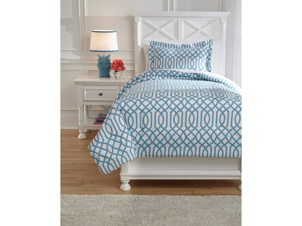 Signature Design by Ashley Bedding SetsTwin Loomis Aqua Comforter Set
