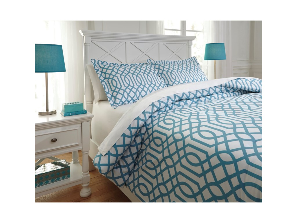 Ashley (Signature Design) Bedding SetsFull Loomis Aqua Comforter Set