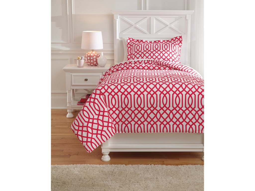 Signature Design by Ashley Bedding SetsTwin Loomis Fuschsia Comforter Set