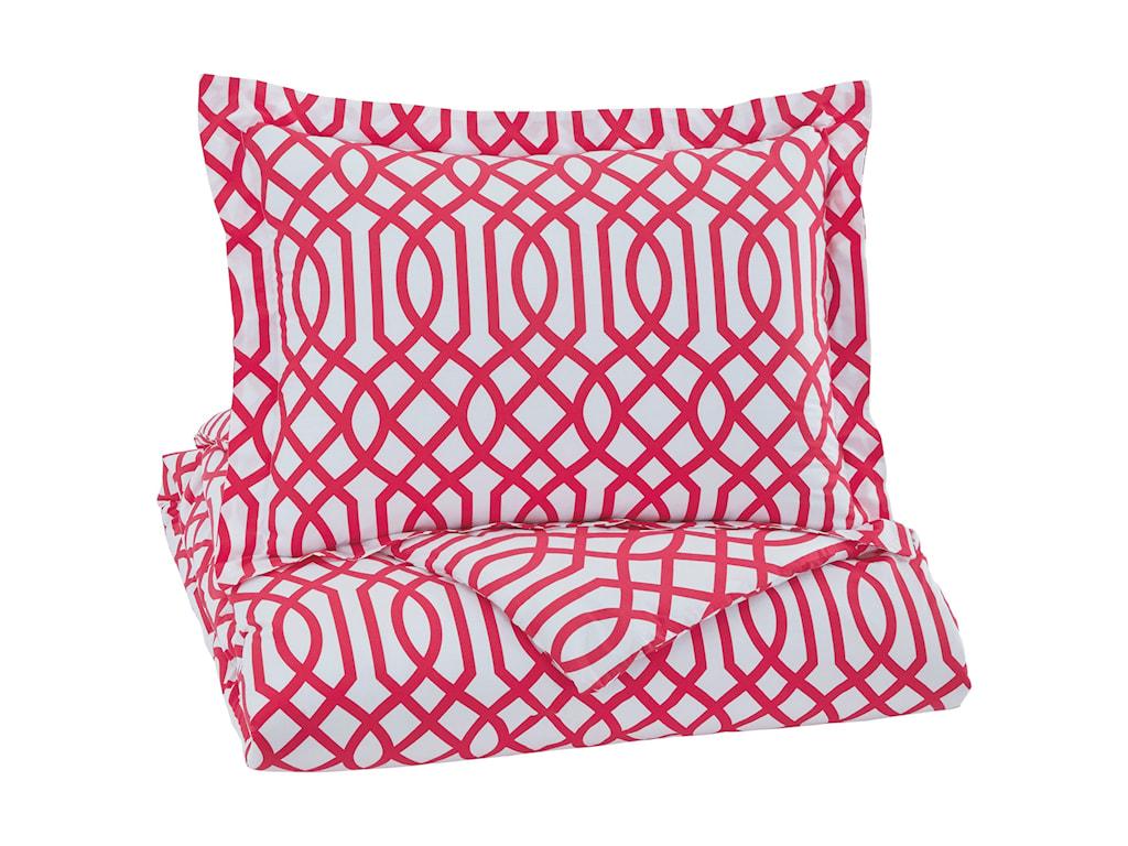 Ashley (Signature Design) Bedding SetsTwin Loomis Fuschsia Comforter Set