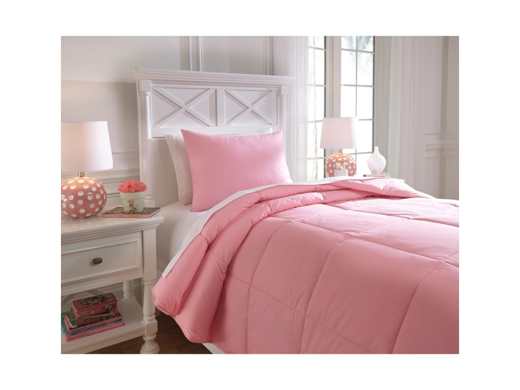 Signature Design by Ashley Bedding SetsTwin Plainfield Pink Comforter Set