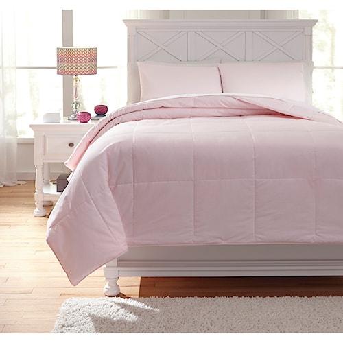 Signature Design by Ashley Bedding Sets Full Plainfield Soft Pink Comforter Set
