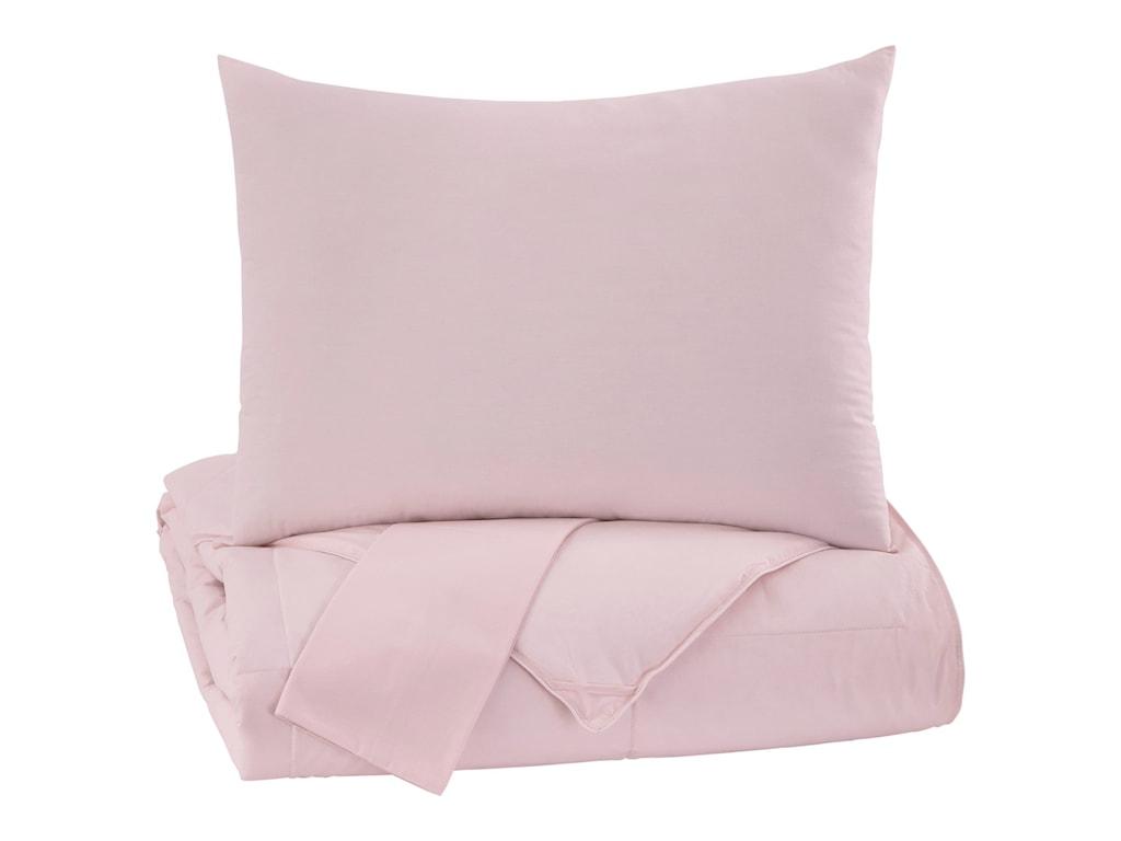 Signature Design by Ashley Bedding SetsFull Plainfield Soft Pink Comforter Set