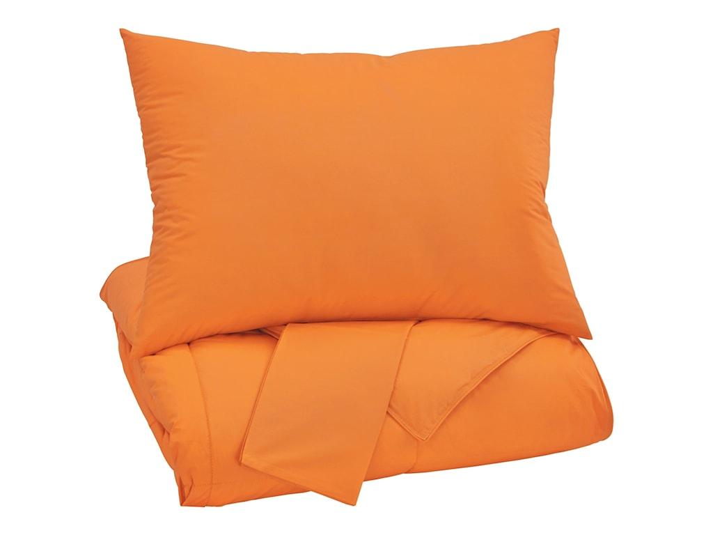 Ashley (Signature Design) Bedding SetsFull Plainfield Orange Comforter Set