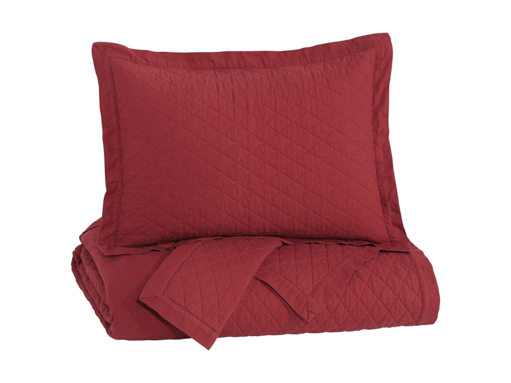 Signature Design by Ashley Bedding SetsKing Alecio Red Quilt Set