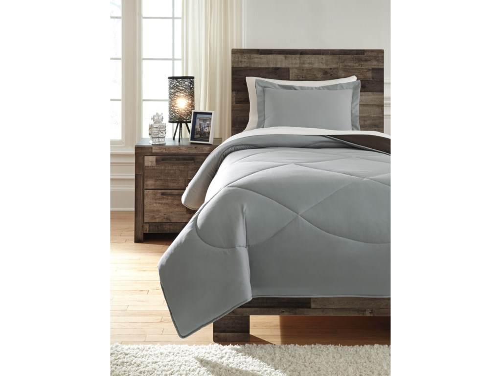 Signature Design by Ashley Bedding SetsTwin Massey Gray/Black Comforter Set