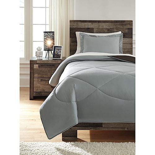 Signature Design by Ashley Bedding Sets Twin Massey Gray/Black Comforter Set
