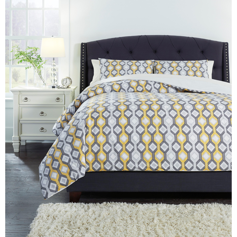Signature Design By Ashley Bedding Sets King Mato Gray Yellow White Comforter Set Royal Furniture Bedding Sets
