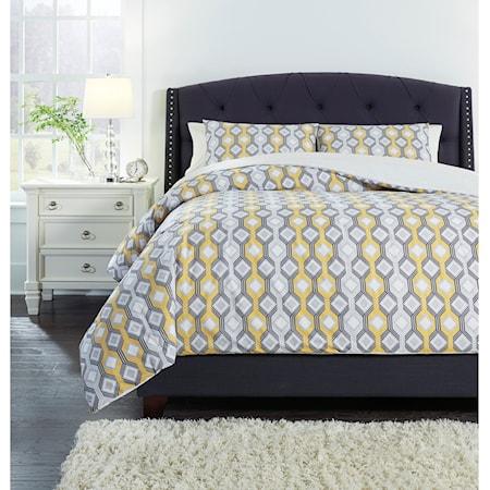 Queen Mato Gray/Yellow/White Comforter Set