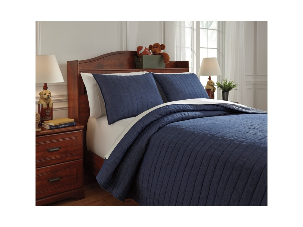 Signature Design by Ashley Bedding SetsFull Capella Denim Quilt Set
