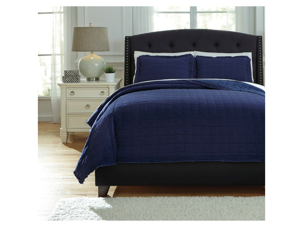 Signature Design by Ashley Bedding SetsQueen Amare Navy Coverlet Set
