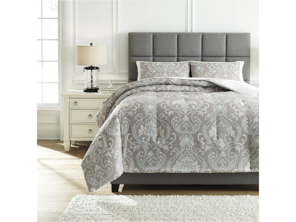Ashley (Signature Design) Bedding SetsQueen Noel Gray/Tan Comforter Set