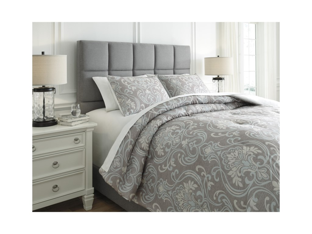 Ashley (Signature Design) Bedding SetsKing Noel Gray/Tan Comforter Set