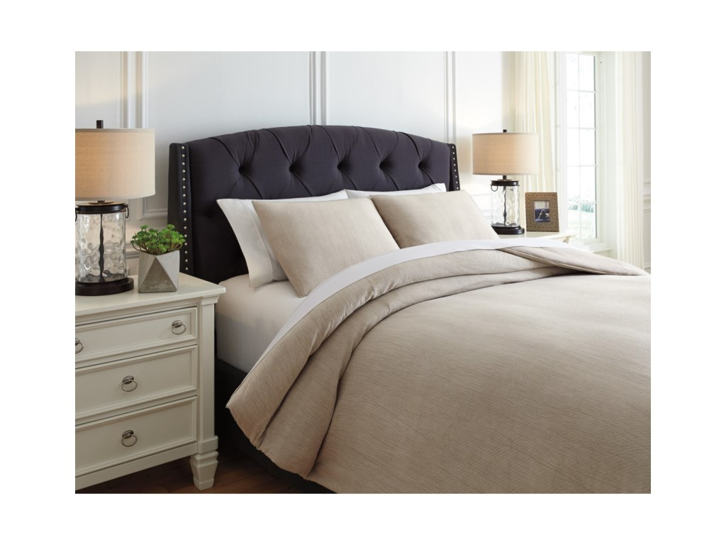 Ashley (Signature Design) Bedding SetsKing Mayda Beige Comforter Set