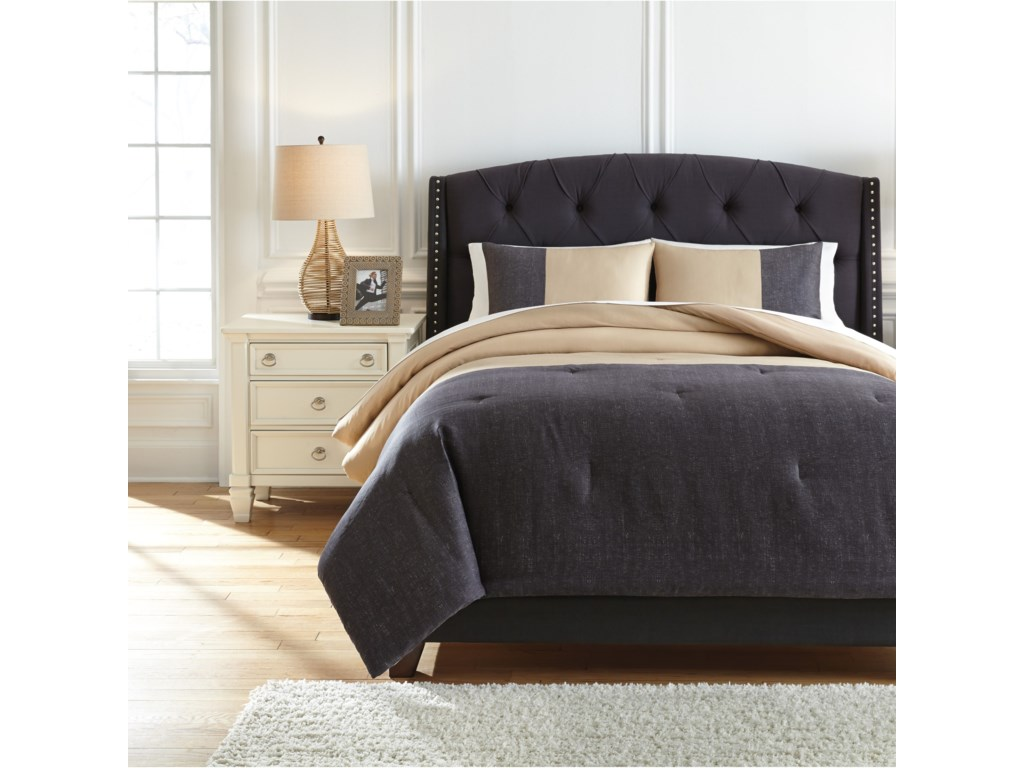 Ashley Signature Design Bedding Setsqueen Medi Charcoal Sand Comforter Set