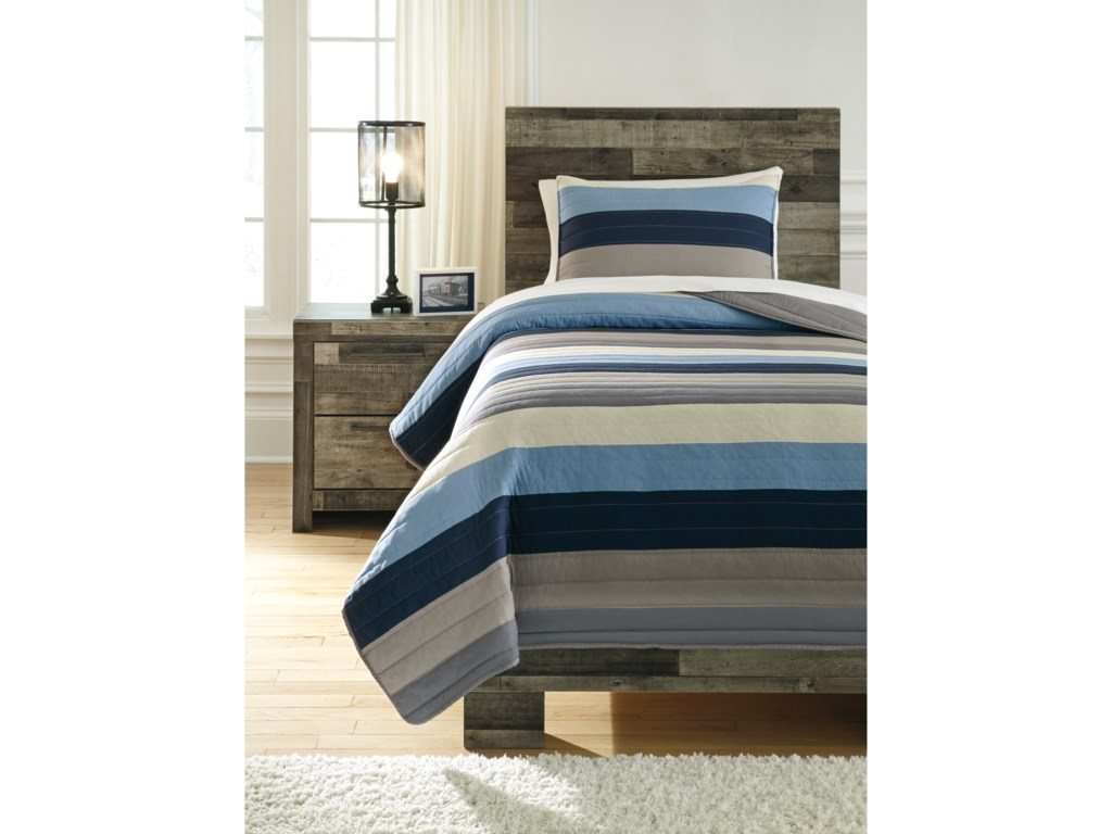 Signature Design by Ashley Bedding SetsTwin Winifred Blue/Gray/Tan Comforter Set