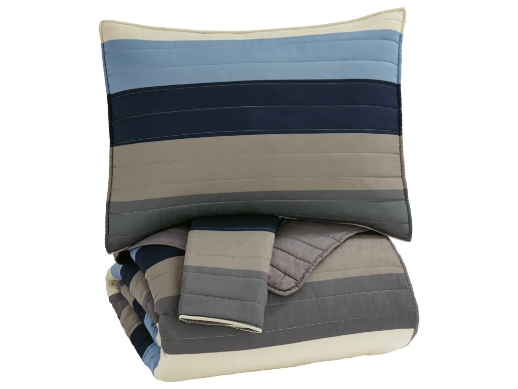 Signature Design by Ashley Bedding SetsFull Winifred Blue/Gray/Tan Bedding Set