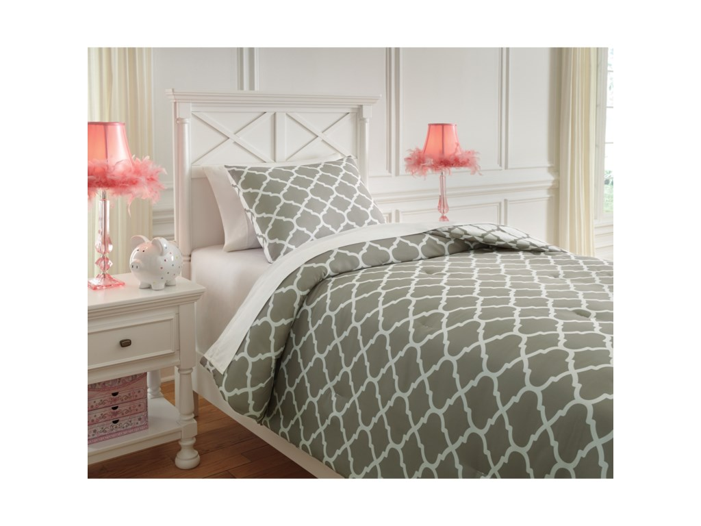 Signature Design by Ashley Bedding SetsTwin Media Gray/White Comforter Set