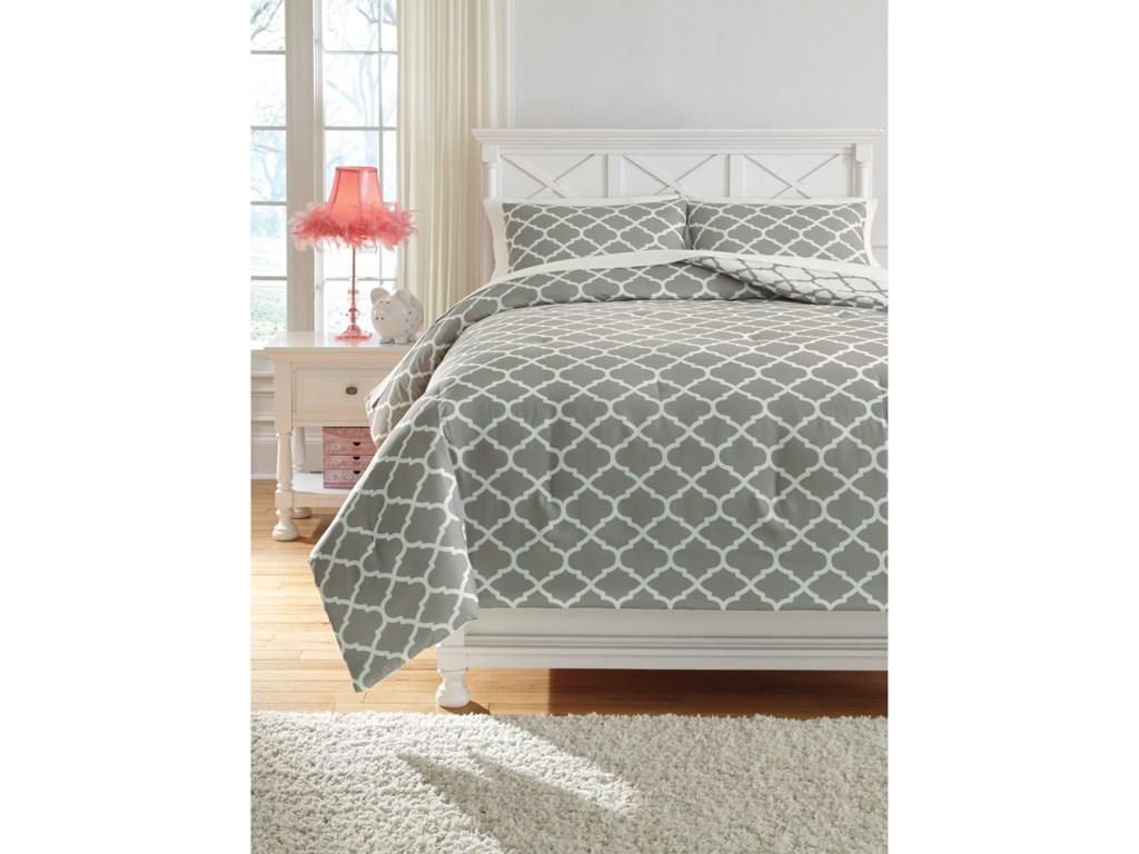 Signature Design by Ashley Bedding SetsFull Media Gray/White Comforter Set