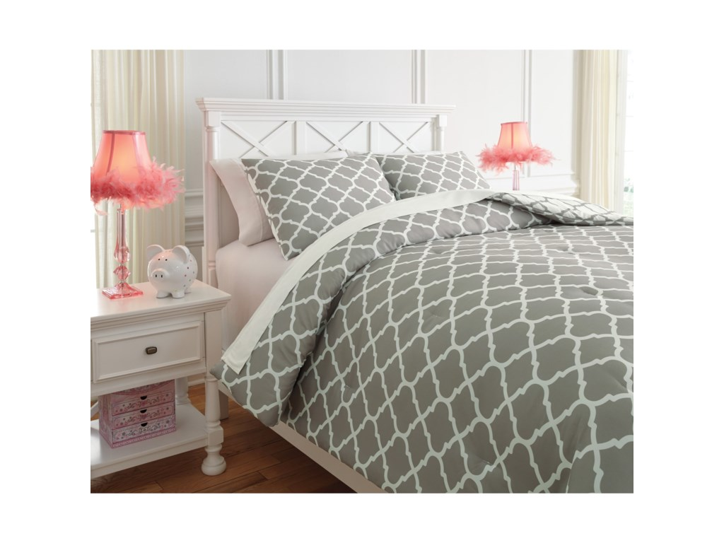 Ashley (Signature Design) Bedding SetsFull Media Gray/White Comforter Set