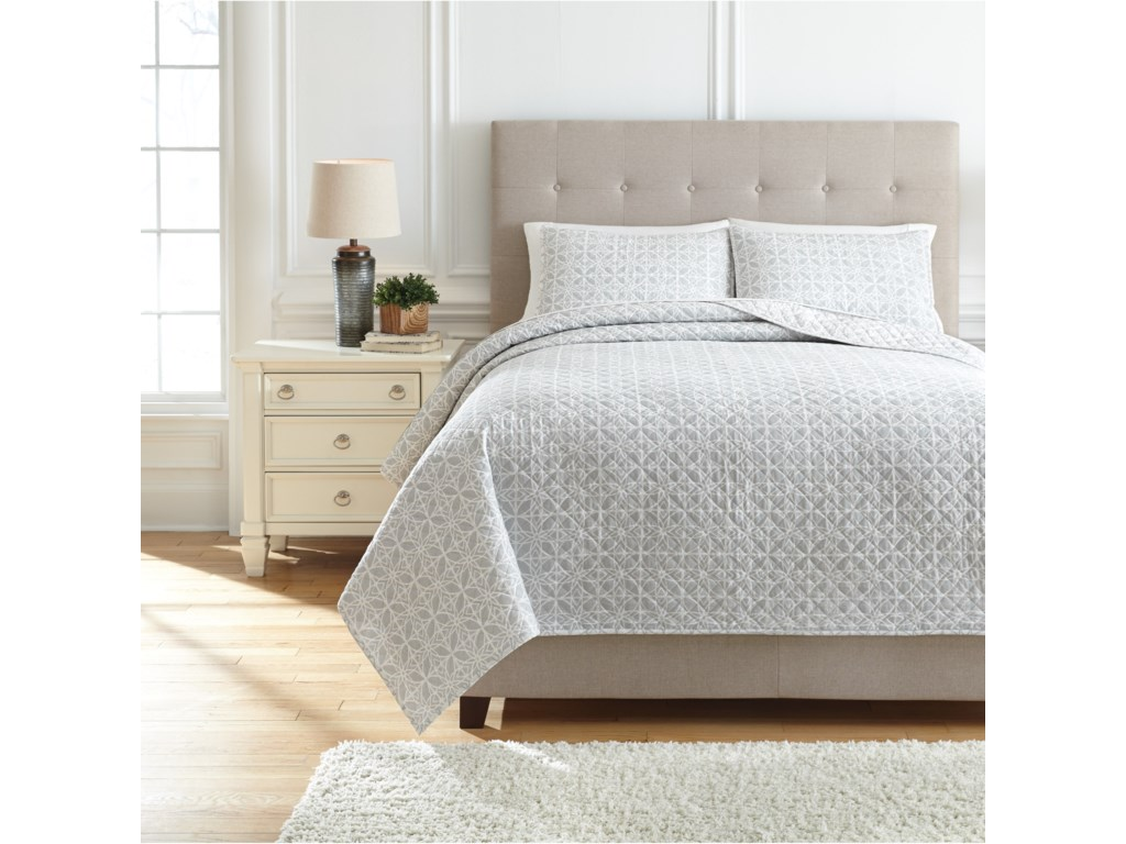 Trendz Bedding SetsKing Mayda Gray/White Quilt Set