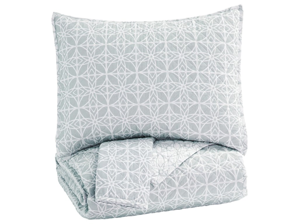 Signature Design by Ashley Bedding SetsKing Mayda Gray/White Quilt Set
