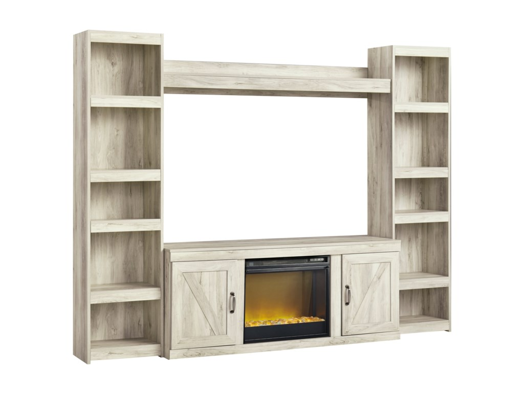 Signature Design by Ashley BellabyTV Stand w/ Fireplace, Piers, & Bridge