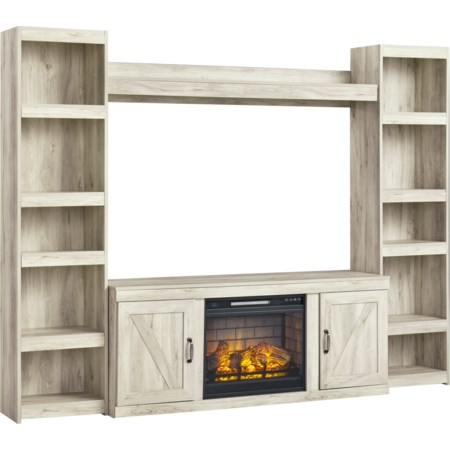 TV Stand w/ Fireplace, Piers, & Bridge