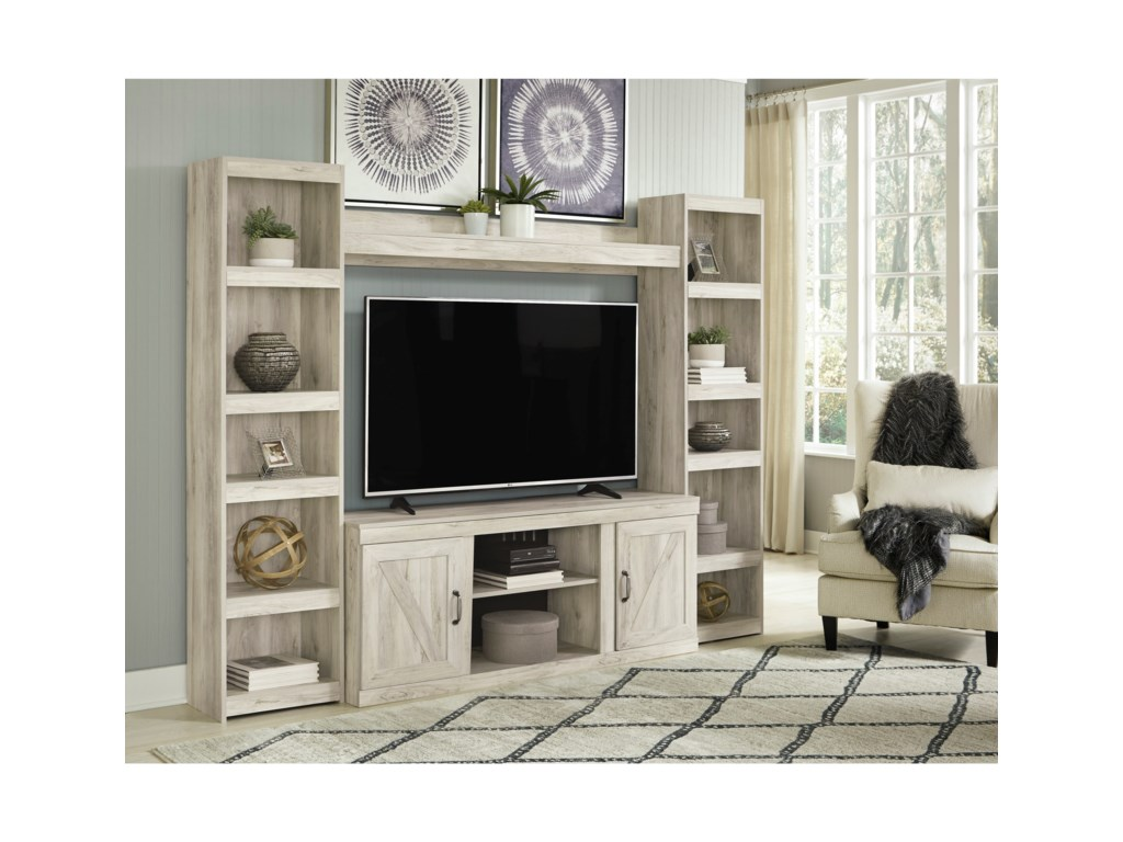 Signature Design by Ashley BellabyTV Stand with 2 Piers and Bridge