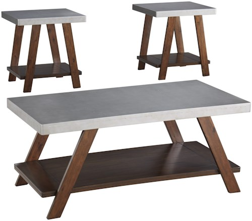 Signature Design by Ashley Bellenteen 3-Piece Occasional Table Set with Silver Finish Table Tops