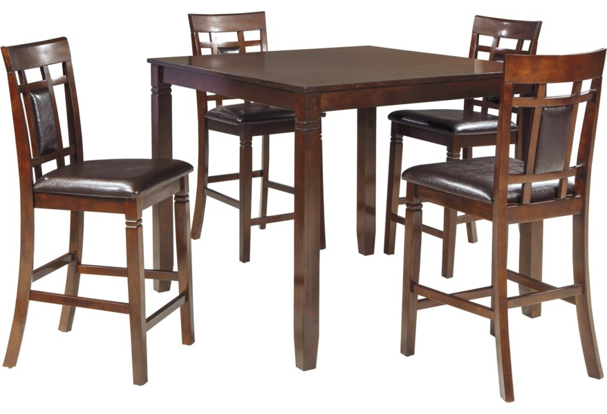Ashley Bennox Contemporary 5 Piece Dining Room Counter Table Set Morris Home Pub Table And Stool Sets