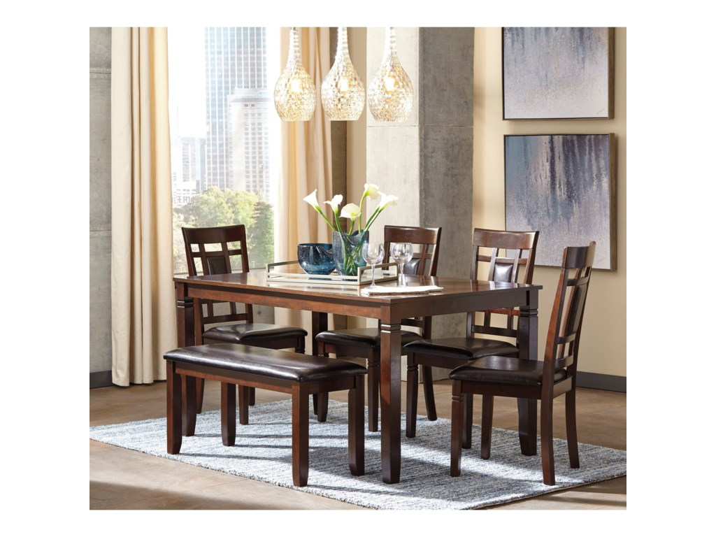 Bennox Contemporary 6 Piece Dining Room Table Set With Bench By Signature Design By Ashley At Royal Furniture