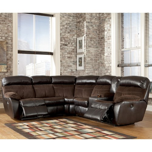 Signature Design by Ashley Furniture Berneen - Coffee Reclining Sectional with Right Side Console