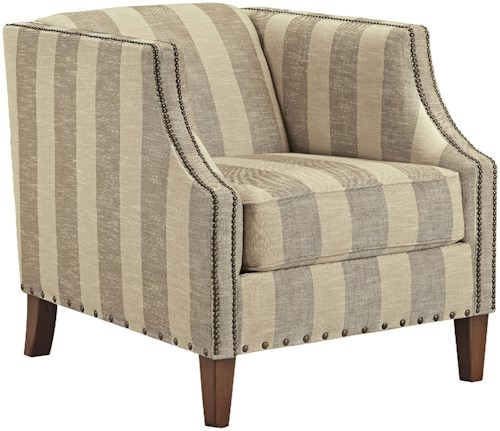 Signature Design by Ashley Berwyn View Accents Club Style Accent Chair with Stripe Fabric and Nailhead Trim