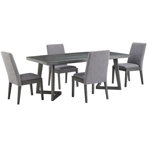 Signature Design by Ashley Besteneer Contemporary Five Piece Chair and Table Set