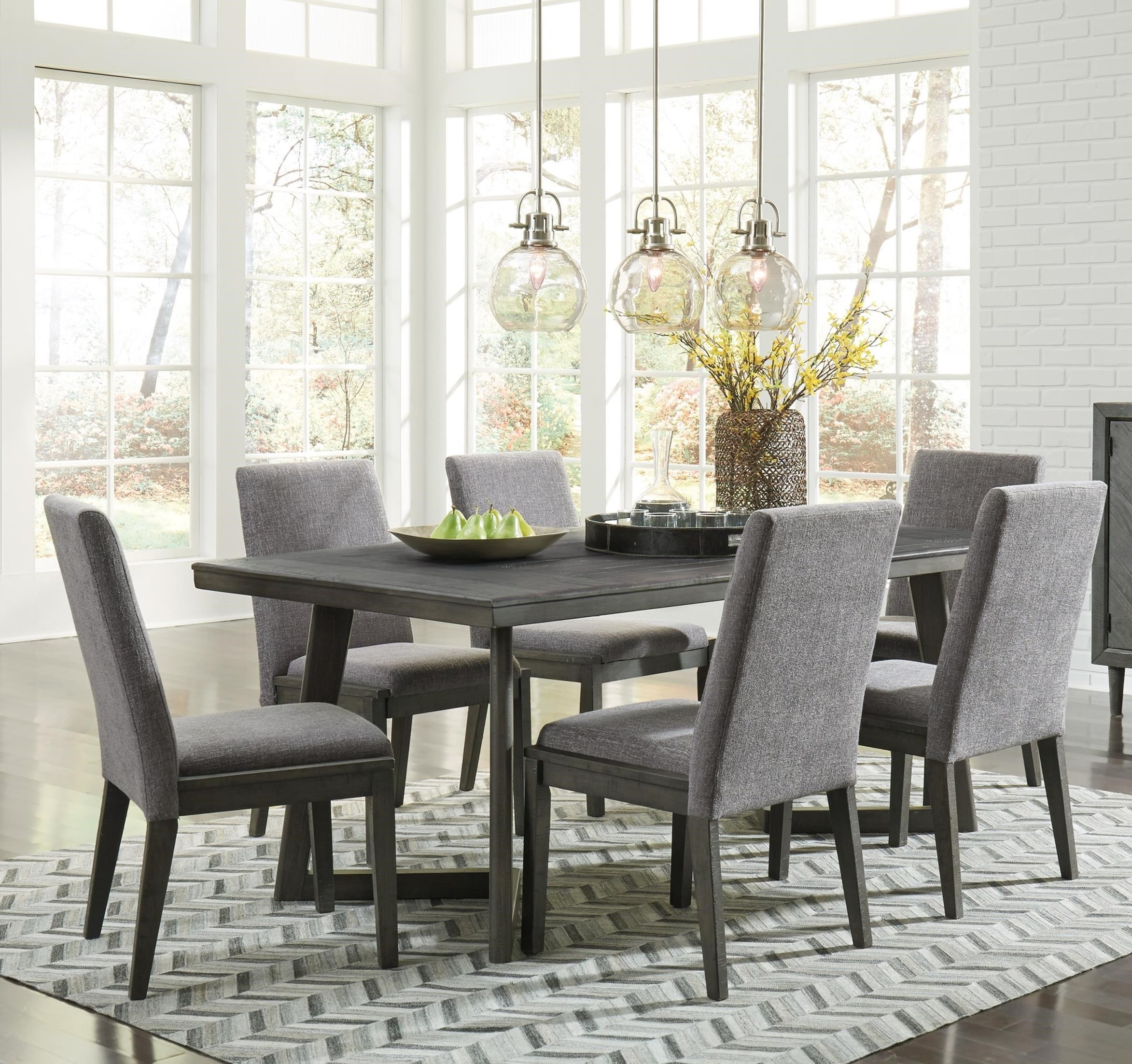 Signature Design By Ashley Besteneer Contemporary Seven Piece Dining Set  With Distressed Finish