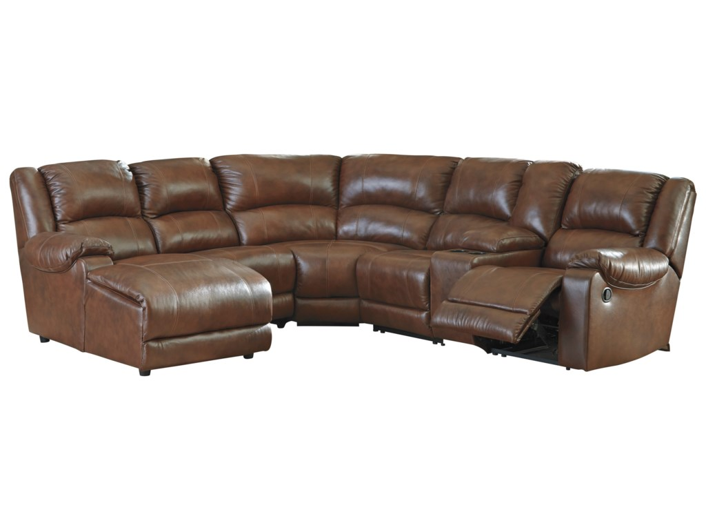 Ashley (Signature Design) BillwedgeReclining Sectional with Chaise & Console