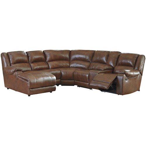 Signature Design by Ashley Billwedge Leather Match Reclining Sectional with Left Chaise & Console