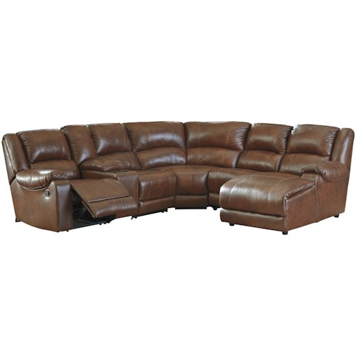 Signature Design by Ashley Billwedge Leather Match Reclining Sectional with Right Chaise & Console