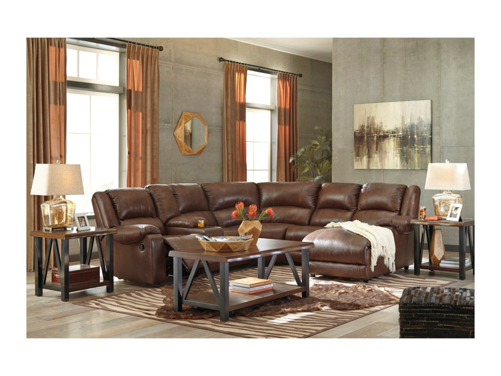 Signature Design by Ashley BillwedgeReclining Sectional with Chaise & Console