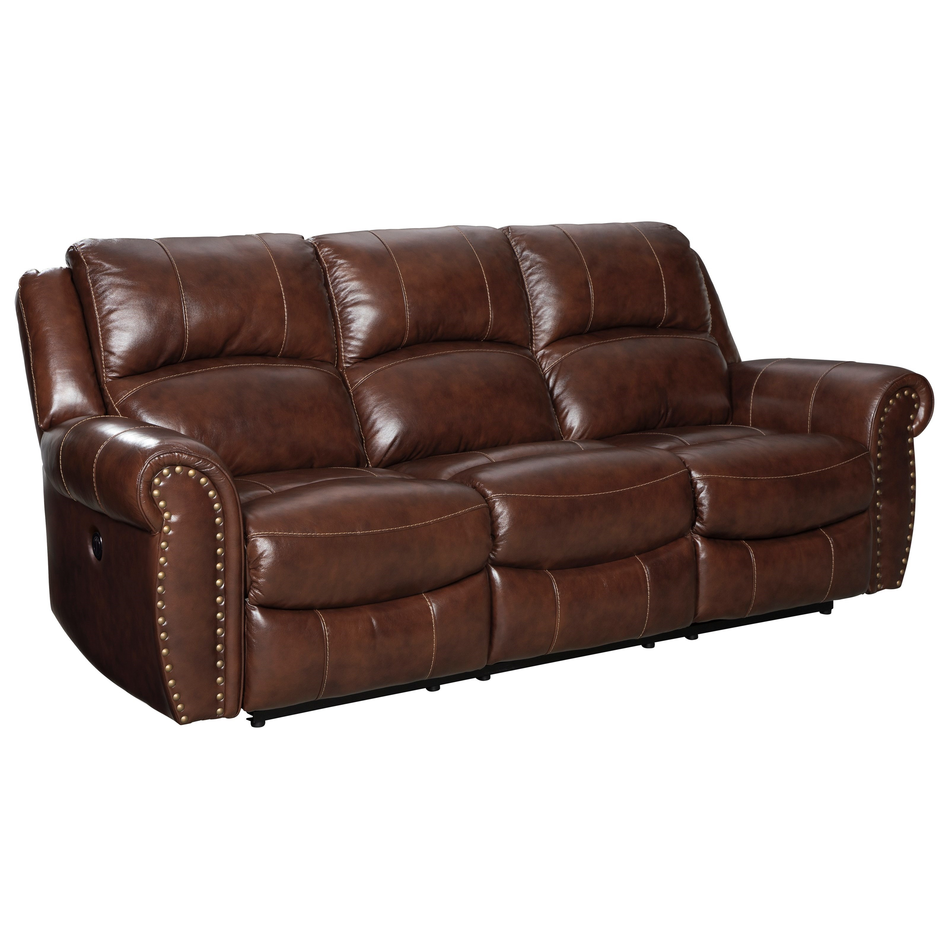 Signature Design By Ashley Bingen Traditional Reclining Sofa With Nailhead  Trim