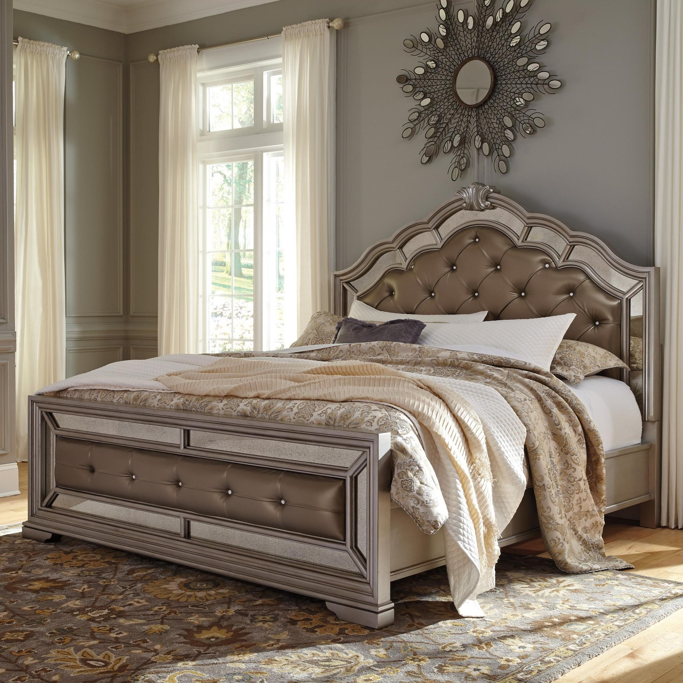 signature design by ashley birlanny queen upholstered bed in silver finish - Ashley Furniture Beds