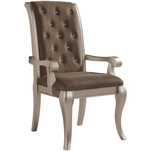 Signature Design by Ashley Birlanny Glam Dining Upholstered Arm Chair in Silver Finish