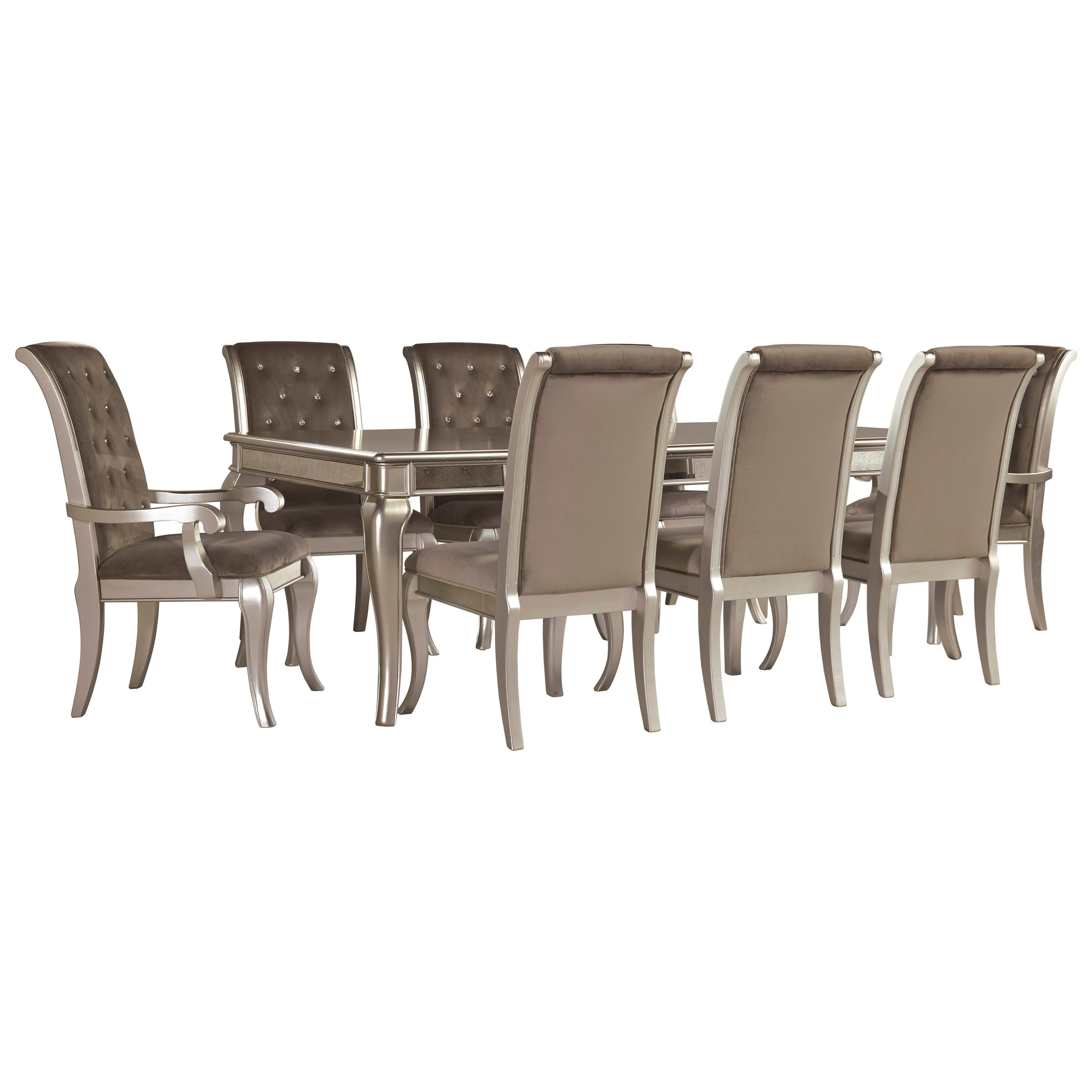 Signature Design by Ashley Birlanny Glam 9-Piece Rectangular Dining Table Set in Silver Finish  sc 1 st  Wayside Furniture & Signature Design by Ashley Birlanny Glam 9-Piece Rectangular Dining ...