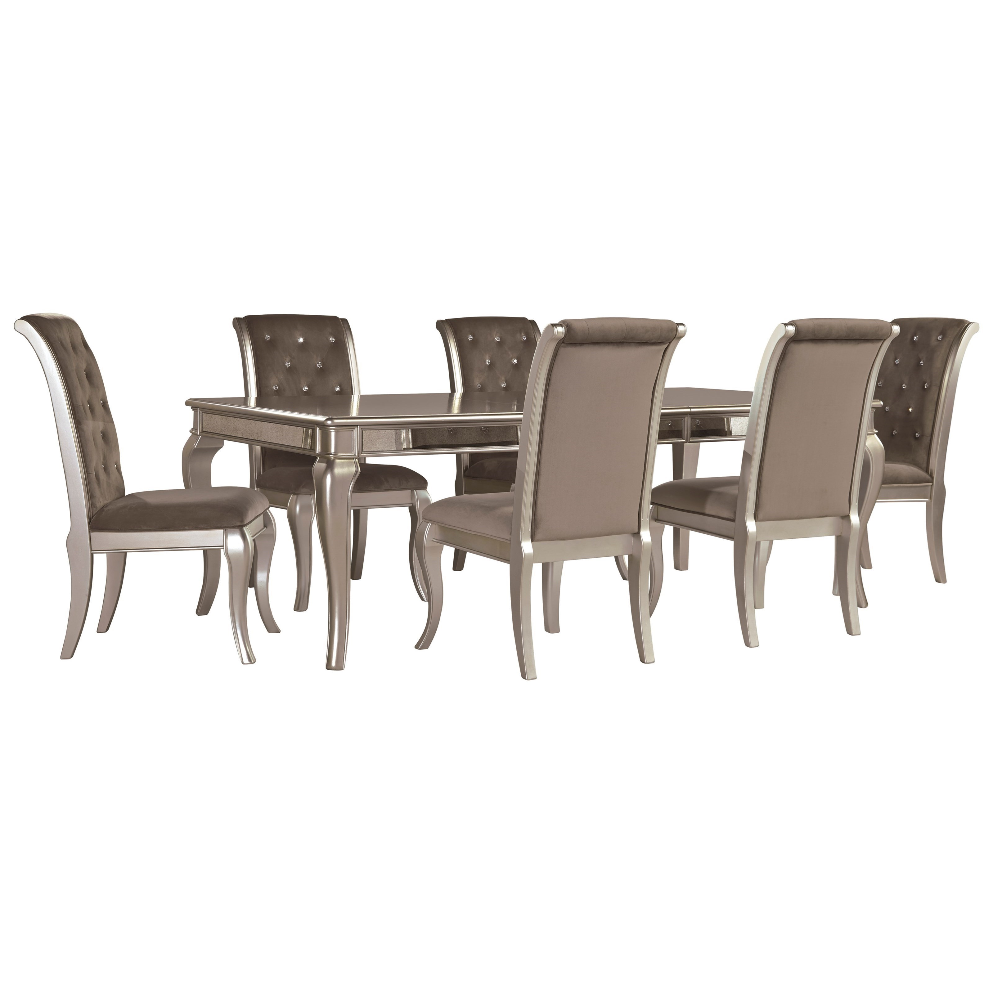 Signature Design by Ashley Birlanny7-Piece Rectangular Dining Table Set ...  sc 1 st  Royal Furniture & Signature Design by Ashley Birlanny Glam 7-Piece Rectangular Dining ...