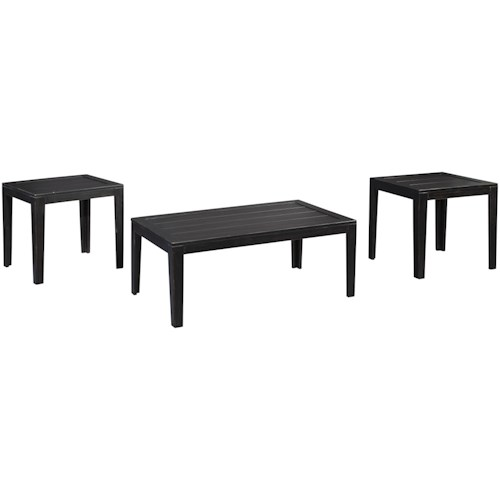 Signature Design by Ashley Birstrom Distressed Black Finish Occasional Table Set