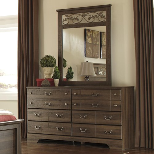 Signature Design by Ashley Allymore 6 Drawer Dresser and Mirror