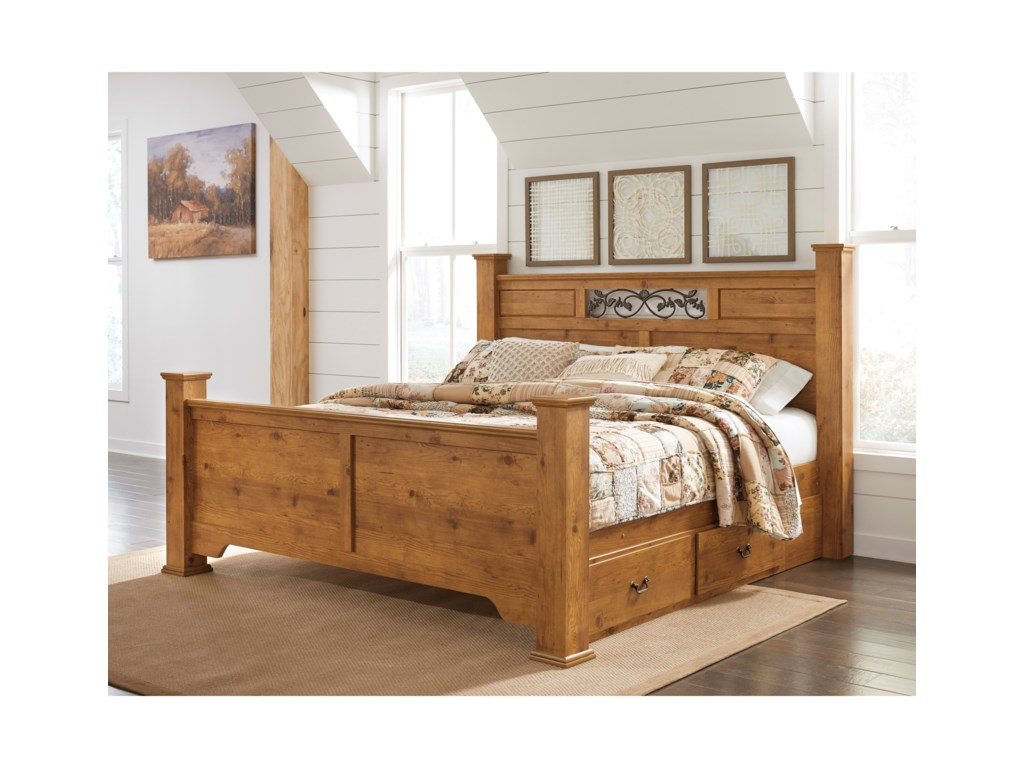 Signature Design by Ashley BittersweetKing Poster Bed with Storage