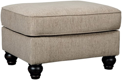 Signature Design by Ashley Blackwood Ottoman with Turned Feet in Dark Finish