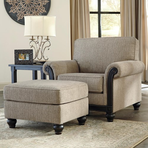 Signature Design by Ashley Blackwood Transitional Chair & Ottoman
